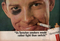 Photo of a cigarette smoker with a black eye